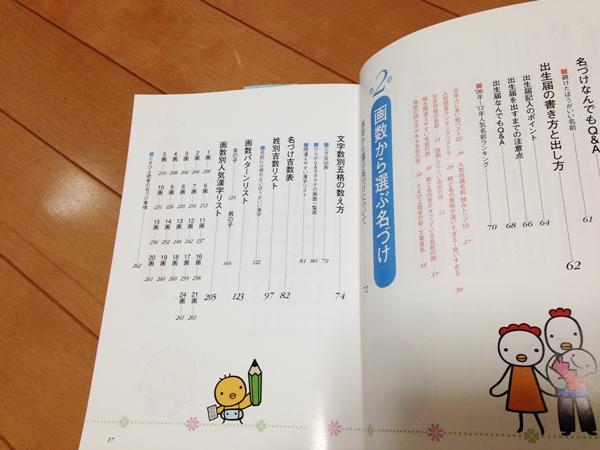 たまひよの赤ちゃんのしあわせ名前事典(2014~2015年版)もくじ