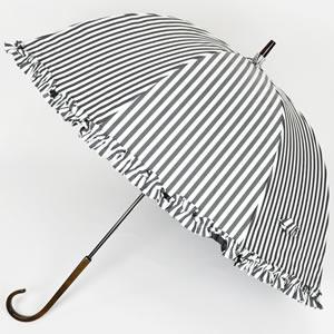 ドームフリル白黒ストライプの日傘